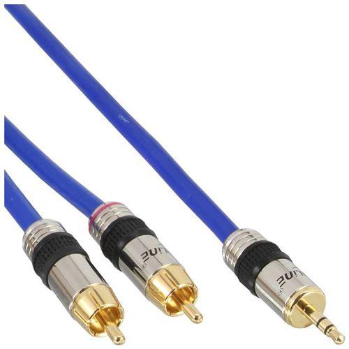 Câble Cinch/jack, InLine®, PREMIUM, 2x Cinch mâle à 3,5mm jack mâle, 0,5m