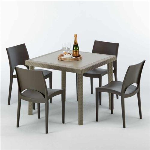 Table carrée beige + 4 chaises colorées Poly rotin synthétique ELEGANCE, Chaises Modèle: Paris Marron Moka