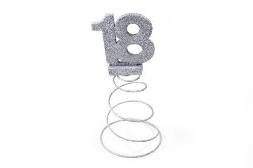 Lot de 10 Centres de table pour anniversaire 18 ans - Argent pailletée
