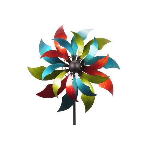 Grand Mobile Pic Tuteur de Jardin Eolienne Moulin à Vent Double Hélices en Fer Coloré 24,5x65,5x230cm