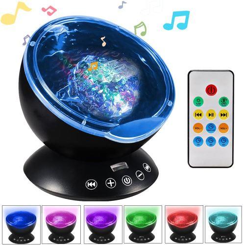 Eclairage LED Guirlande/Décoration LED Ocean Wave Music Projecteur LED Veilleuse Noir
