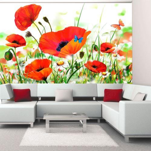 200x154 Papier peint Coquelicots Fleurs Chic Country poppies
