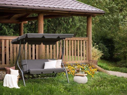 Beliani - Balancelle de jardin - balancelle en métal et tissu gris - Chaplin