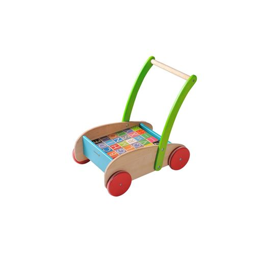 Everearth Chariot à blocs de bois multicolore 43 cm