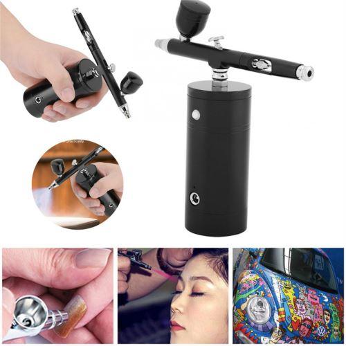 Mini kit de compresseur, recharge USB double Airbrush, 0.3MM 7CC Nail Art, Pistolet hydratant de beauté pour Paint Art Tattoo Design, Noir