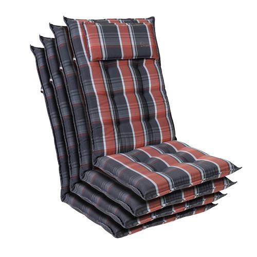 Coussin de chaise de jardin -Blumfeldt Sylt -120 x 50 x9 cm -4 pièces -Noir / Rouge