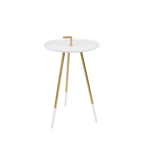 Table d'appoint métal laiton Rumbi - Couleur - Blanc