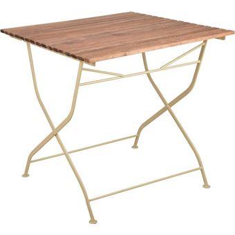 Esschert Design Table Pliable En Bois Et Metal Creme Mobilier