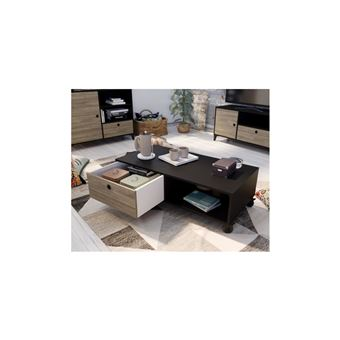 et 55 Noir L basse 110 mat FINLANDEK Table cm Industriel x l décor chene JONES hdsBQrCxt