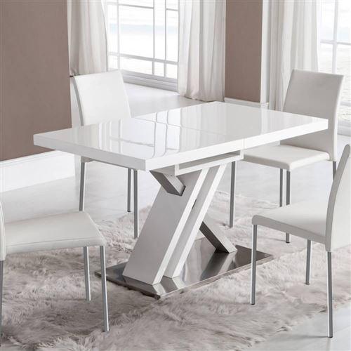 Table de repas extensible SONE design laqué blanc brillant 130/170x80 cm