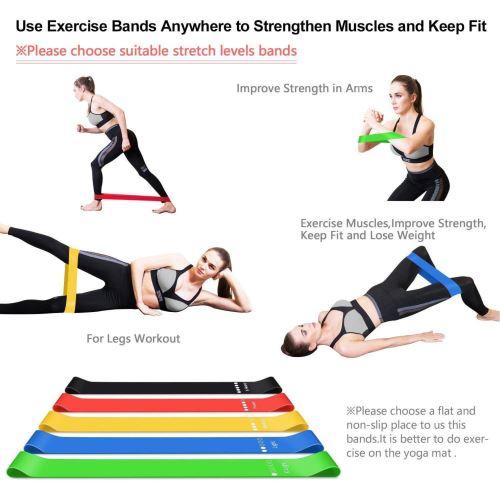 Resistance Loop Bands Latex Naturel Lot De 5 Pour Exercice Accueil Gym Fitness Yoga Equipement Accessoires Bandes Elastiques