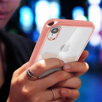 coque de telephone transparente iphone xr avec le contour rose