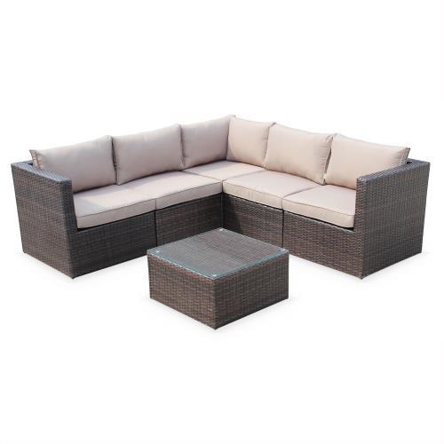 Salon de jardin résine tressée - Siena - Coloris chocolat coussins marron structure aluminium canapé d'angle d'extérieur 5 places