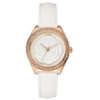 49e8119248 Montre Femme Guess W90083L1 Bracelet Cuir Blanc Cadran Or Rose - Montre à  quartz - Achat & prix | fnac