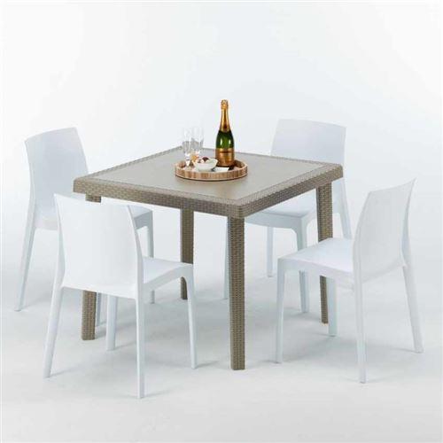 Table carrée beige + 4 chaises colorées Poly rotin synthétique ELEGANCE, Chaises Modèle: Rome Blanc