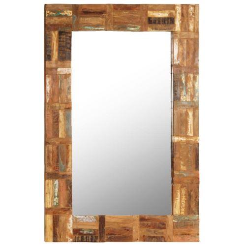 Miroir Mural Bois de Récupération Massif pour Salle de Bain, Chambre à Coucher ou Dressing 60 x 90 cm
