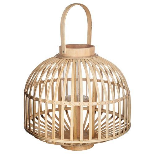 Lanterne en rotin ethnique Jupon - H. 35 cm - Beige
