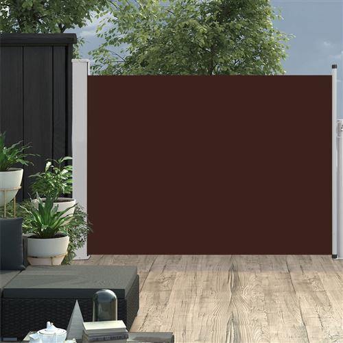 Auvent latéral rétractable de patio 100x500 cm Marron