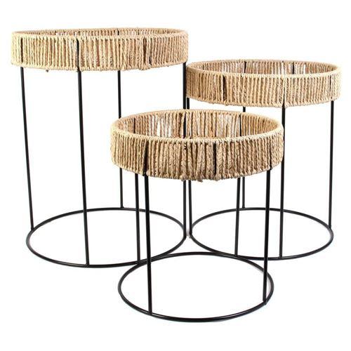 3 Tables d'appoint rondes design corde Blue Lagoon - Noir