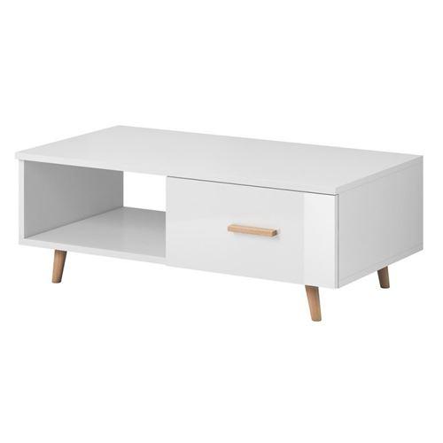 Table basse EDEN 110 cm avec 1 tiroir et 1 niche, coloris blanc.