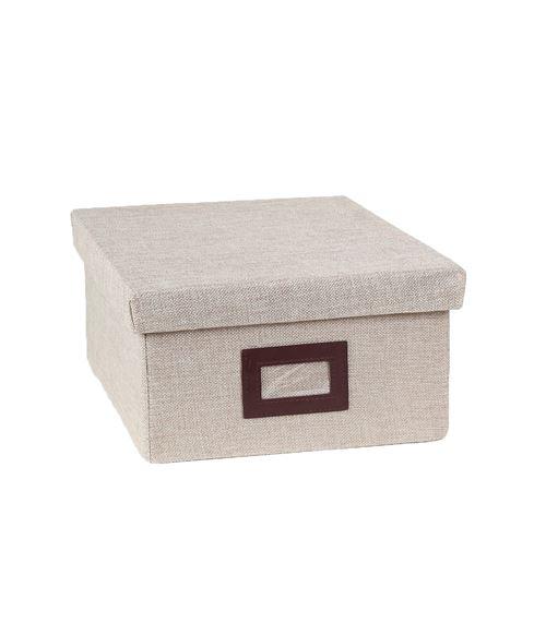 Boîte de rangement beige en polyester hauteur 15 cm