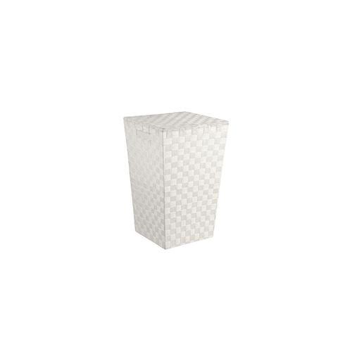 Panier à linge tressé - Lise - L 33 x l 33 x H 53 cm - Blanc