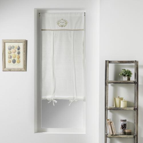 Store droit passe tringle 60 x 150 cm voile+top brode romantique boudoir Naturel