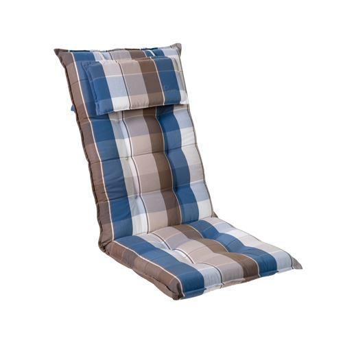 Coussin de chaise de jardin -Blumfeldt Sylt -120 x 50 x9 cm -1 pièce -Bleu / Marron
