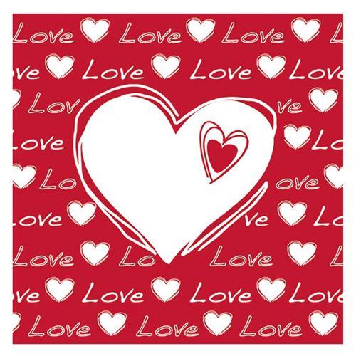 20 serviettes cŒur amour rouge 33x33cm