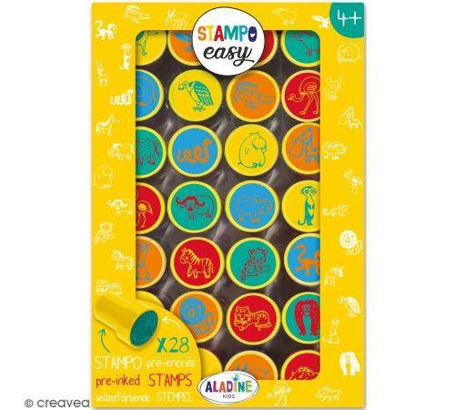 Kit de tampons enfant pré-encrés Stampo Easy - Animaux de la savane - 28 pcs