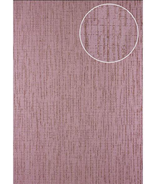Papier peint à motifs graphiques Atlas 24C-7505-4 papier peint intissé texturé avec un dessin abstrait et des accents métalliques pourpre violet cuivré 7,035 m2