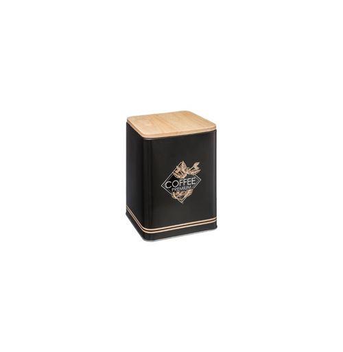 Boîte en métal avec couvercle en bois - Côté Café - 14,3 x 17,5 cm