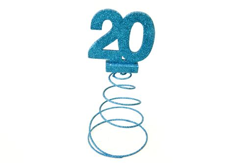 Lot de 10 Centres de table pour anniversaire 20 ans - turquoise pailletée