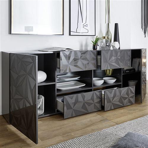 Salle à manger gris laqué enfilade + table design PAOLO 3 - L 180 x P 90 x  H 79 cm
