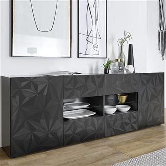 Salle à manger gris laqué enfilade + table design PAOLO 3 - L 180 x ...