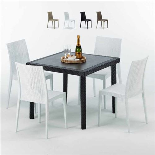 Table Carrée Noire 90x90cm Avec 4 Chaises Colorées Grand Soleil Set Extérieur Bar Café Bistrot Passion, Couleur: Blanc