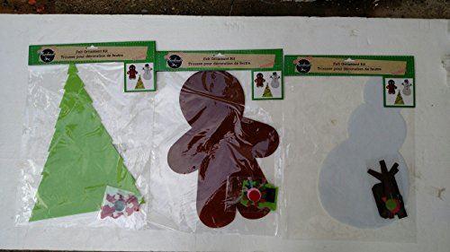 Kit d'ornements en feutre (assortis, quantités variables) arbre de Noël, bonhomme en pain d'épice andor bonhomme de neige de Greenbrier