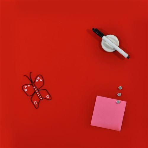 DESQ Tableau magnétique en verre 45 x 45 cm Rouge
