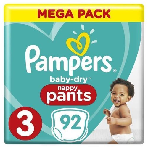 Pampers Baby-dry Pants Taille 3, 6 A 11 Kg, 92 Couches-culottes - Mega Pack
