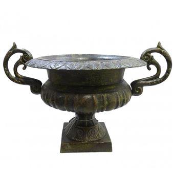 L\'Héritier Du Temps - Grand vase vasque chambord jardinière de pilier pot  de fleur en fonte vert anglais 37x41x60cm