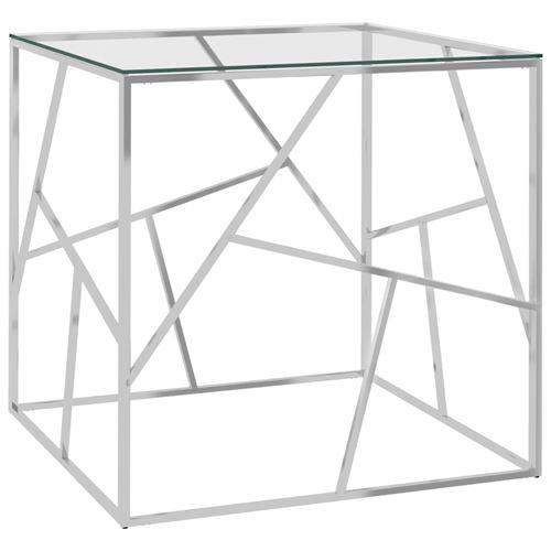Table basse en Acier inoxydable et verre 55x55x55cm