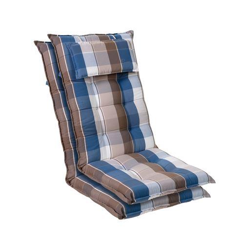 Coussin de chaise de jardin -Blumfeldt Sylt -120 x 50 x9 cm -2 pièces -Bleu / Marron