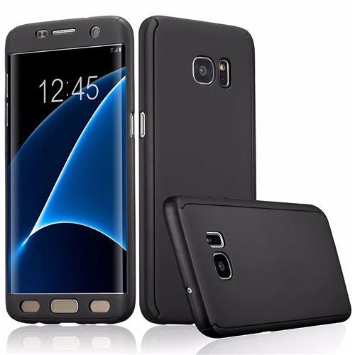 Coque pour Samsung Galaxy A3 2017 SM-A320 - Coque Noir Verre Trempé - Housse Etui 360 Full Hybride Protection Rigide Plastique Dur Anti Choc Ultra ...