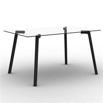 Table à manger en verre avec pieds métal L140cm TRIBOR noir - Achat ...