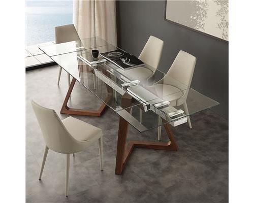 Table extensible en verre et bois design TOSCA - 160 cm