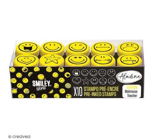 Kit de tampons enfant pré-encrés Stampo Easy - Smiley - 10 pcs