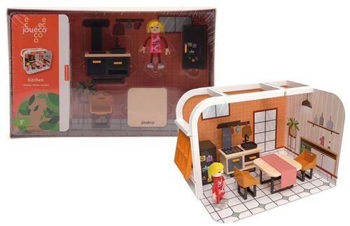 Jouéco set de jeu cuisine junior bois/carton 7-pièces