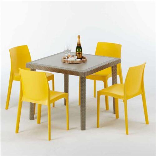 Table carrée beige + 4 chaises colorées Poly rotin synthétique ELEGANCE, Chaises Modèle: Rome jaune