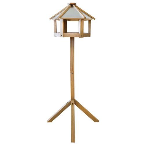 Mangeoire à oiseaux hexagonale chêne et acier DEC022573
