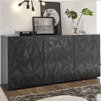 Salle à manger gris laqué buffet 3 portes + table 180 design PAOLO 3 ...